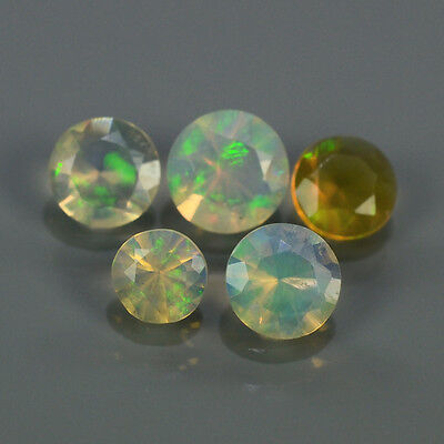 """Natural 5pcs 0.63ct Lot Round Red-Orange & Rainbow """"Play Of Colour"""" OPAL #295222"""