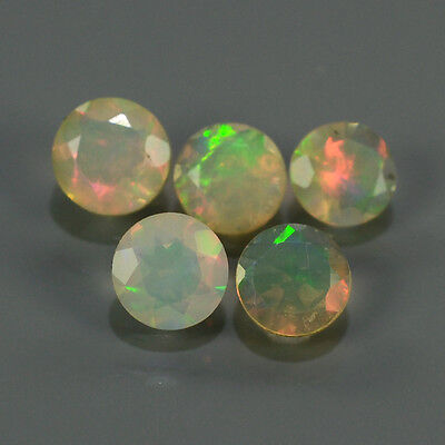 """Natural 5pcs 0.62ct Lot Round Red-Orange & Rainbow """"Play Of Colour"""" OPAL #295219"""