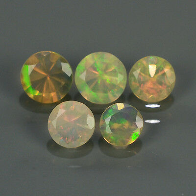 """Natural 5pcs 0.69ct Lot Round Red-Orange & Rainbow """"Play Of Colour"""" OPAL #295215"""