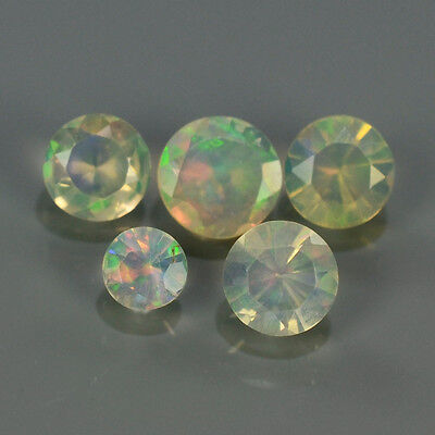 """Natural 5pcs 0.66ct Lot Round Red-Orange & Rainbow """"Play Of Colour"""" OPAL #295214"""