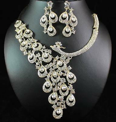 Peacock Clear Austrian Rhinestone Crystal Necklace Earrings Set Bridal N1391Gold