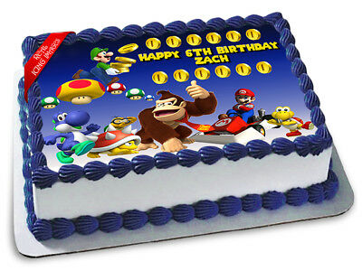 Super Mario Bros Edible Icing Image Cake Topper Personalised Birthday Decoration