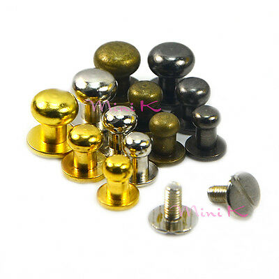Round Head Nail Rivet Bag Chicago Stud 5mm 6mm 8mm Screws Back Copper Leather