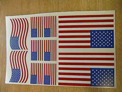 USA FLAG STICKERS SHEET SIZE 21cm x 14cm - UNITED STATES - STARS + STRIPES