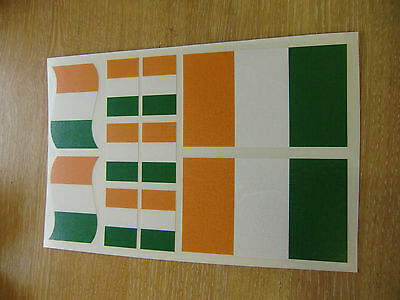 IRISH FLAG STICKERS SHEET SIZE 21cm x 14cm - IRELAND EIRE DECALS
