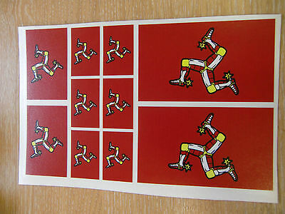 "ISLE OF MAN ""BIKER"" FLAG STICKERS SHEET SIZE 21cm x 14cm - TT"