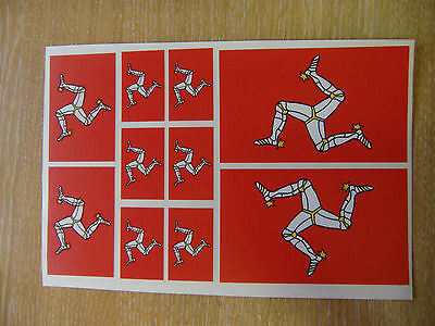 ISLE OF MAN FLAG STICKERS SHEET SIZE 21cm x 14cm