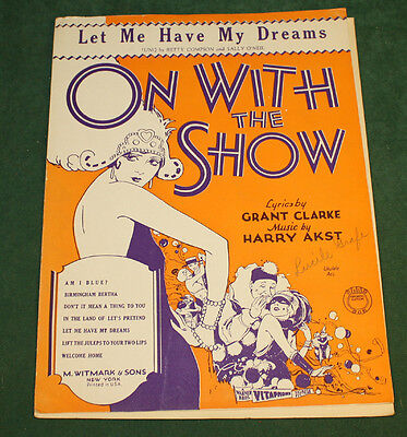 Vintage On With The Show Grant Clarke Harry Akst Deco Cover 1929 Sheet Music
