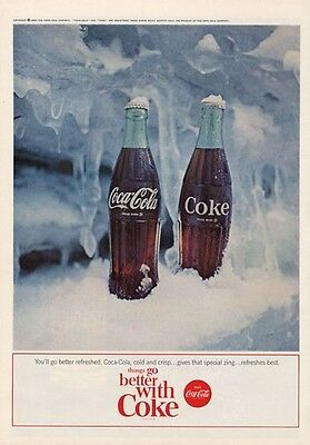 1964 Coca Cola PRINT AD Coke Vintage Bottle on Ice Fun and Great to frame!