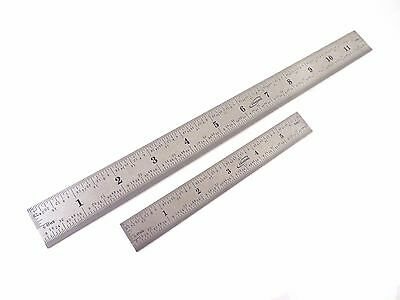 """6"""" and 12"""" 4R (1/18, 1/16, 1/32, 1/64) Stainless Steel Machinist Ruler / Rule"""