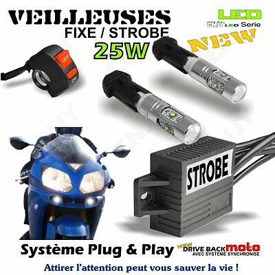 2 Veilleuse Led Moto Flash Driveback+Interrupteur Guidon Yamaha Ew Fjr Fz1 Fz6