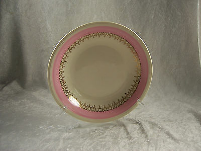 """Soup Bowl Coupe 8"""" Edwin Knowles USA Pink Band 22K Gold Ringlets on Cream"""