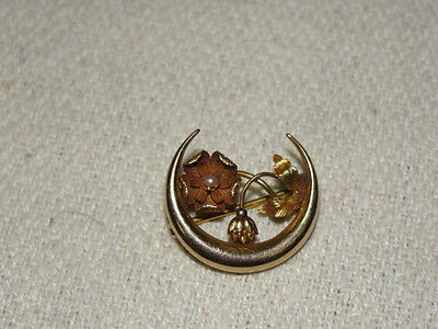 Vintage 14K Yellow Gold Seed Pearl Crescent Moon Flower Brooch Pin