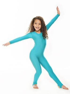 Childrens Girls Shiny Lycra Dance Gymnastics Long Sleeve Unitard Catsuit KDC012