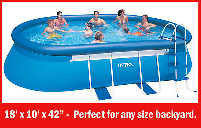ABOVE GROUND SWIMMING POOL. NEW INTEX 5.49 x 3.05 x 1.07m steel frame/inflatable
