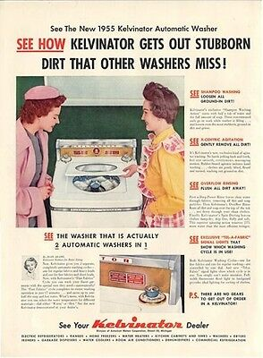 1955 Kelvinator Clothes Washer Washing great detailed laundry rm decor PRINT AD