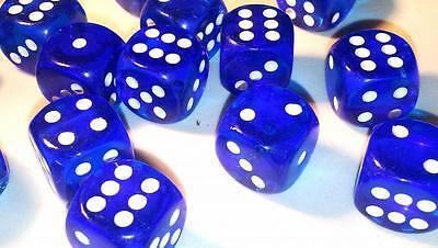 50 x LARGE Six Sided Translucent Dice 19mm Casino Craps