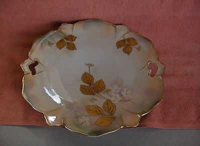Antique Porcelain Hand Painted Collector Plate Gold Leaves Open Handled Nice