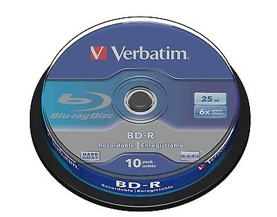 Verbatim BD-R 25GB 6x Speed Recordable Blu-ray Discs Spindle Pack 10 (43742)