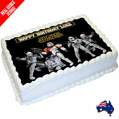 Star Wars Edible Icing Image Cake Topper Personalised Birthday Party
