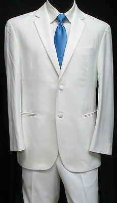 Mens White Two Button Tuxedo / Dinner Jacket With Pants Wedding Prom Cruise 46R