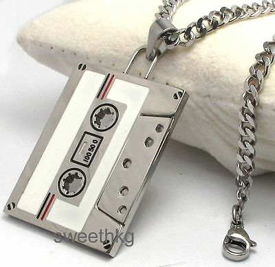 Mens Boys 316L Stainless Steel Cassette Tape Music Necklace Cuban Curb Chain