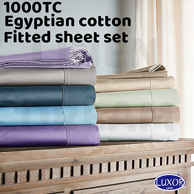 1000TC Genuine Egyptian Cotton Bedding Fitted Sheet Pillowcases Set-All Size