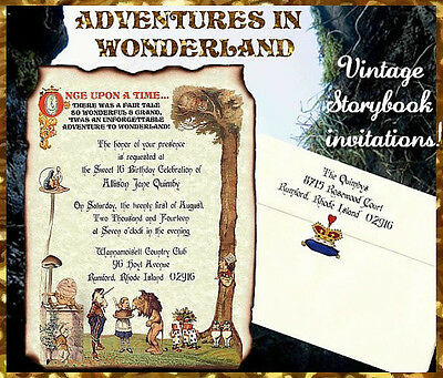 alice in wonderland scroll wedding party invitations invites qty 50
