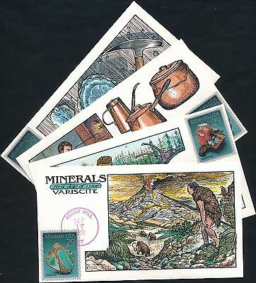 """#2700-2703 """"Minerals"""" Collins Fdc Cachet Hand Painted (4) Different Bq4509"""