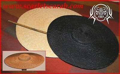 Colonial Ladies Low Crown Natural or Black Straw Hat -- 2 sizes to choose from
