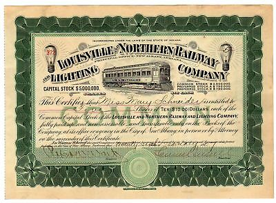Samuel Insull autographed Louisville & Northern Railway & Lighting Company