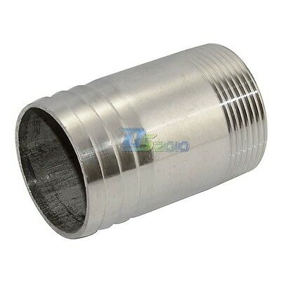 "Stainless Steel 1 1/2"" Male Thread Pipe Fitting x 45MM OD Barb Hose Tail"