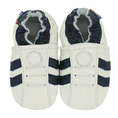 carozoo sports dark blue stripe white 3-4y soft sole leather toddler shoes