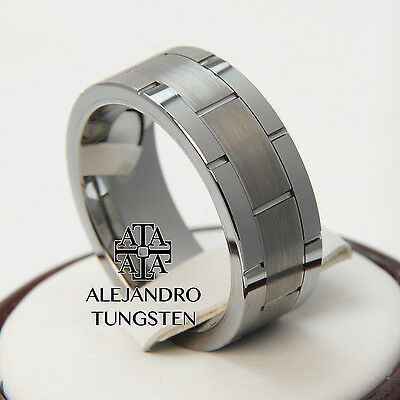 Tungsten Ring Men's Wedding Band Comfort Fit 8MM Silver Brush Size 6 to 14