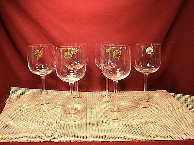 "Cristal d'Arques Crystal Set of 6 Wine/Water Goblets 7 7/8"" Tall New"