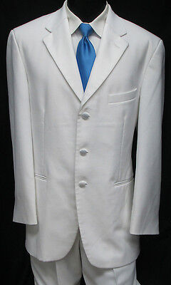 White 3 Button Tuxedo / Dinner Jacket With Pants Wedding Prom Cruise Formal 40R