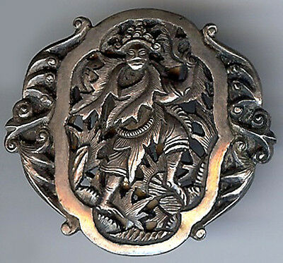 French Indochina Vintage Sterling Silver Tree Man Figure Dress Clip