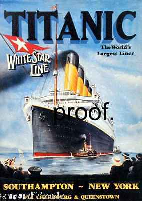 Titanic Travel Poster  White Star Ship Ocean Liner   advertising 1912 13 X 19