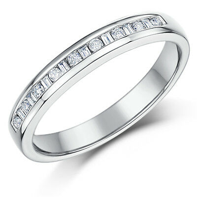 18ct White Gold 3mm Princess Cut 0.25 Carat Eternity Diamond Ring