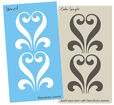 "Lg STENCIL 8"" Ironwork Floral Heart Swirl Country Shabby Cottage Border Wall Art"