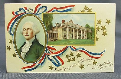 Old Patriotic 4th of July Postcard George Washington Birthday Greetings Portrait