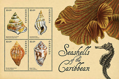 Grenada -2012-SHELLS OF THE CARIBBEAN SHEETLET OF 3
