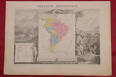 1850 SOUTH AMERICA Decorative MAP by LEVASSEUR -  Empire of Brazil