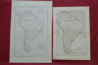 1787- TWO MAPS of SOUTH AMERICA by BONNE