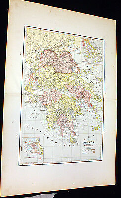 Antique Large Map Greece or Persia & Central Asia 1892 People's Atlas Color