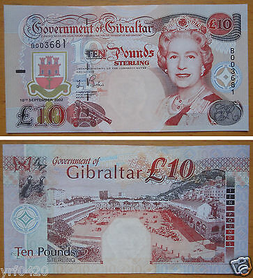 Gibraltar Banknote 10 Pounds 2002 UNC
