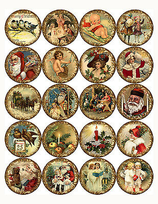 "Christmas round stickers 20 - 2"" 24 - 1.5"" scrap booking   crafts glossy"