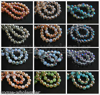 (71) Beautiful Colorful Round Ball Glass Crystal 96Faceted Loose Spacer Bead 8mm