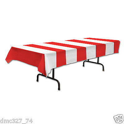 89b53d69d CIRCUS CARNIVAL Big Top Party Decoration RED WHITE Stripe STRIPED TABLE  COVER