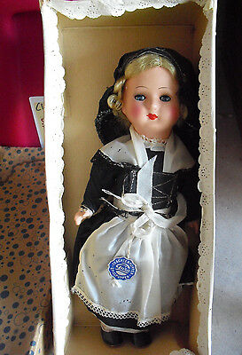 """Vintage Jointed Celluloid Gura Germany Blonde Hair Girl Doll with Box 12 1/2"""""""